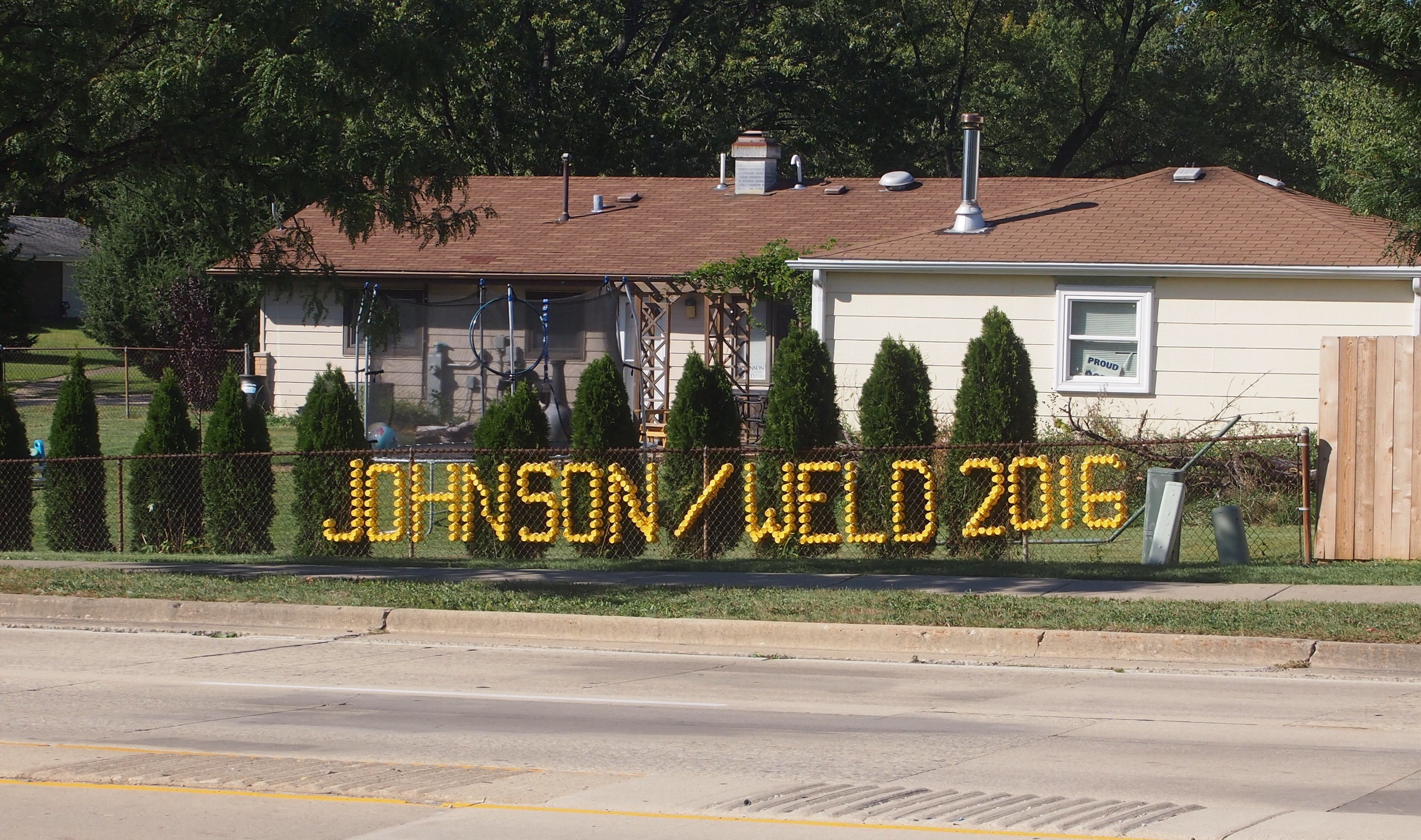 Gary Johnson Sign made of yellow cups