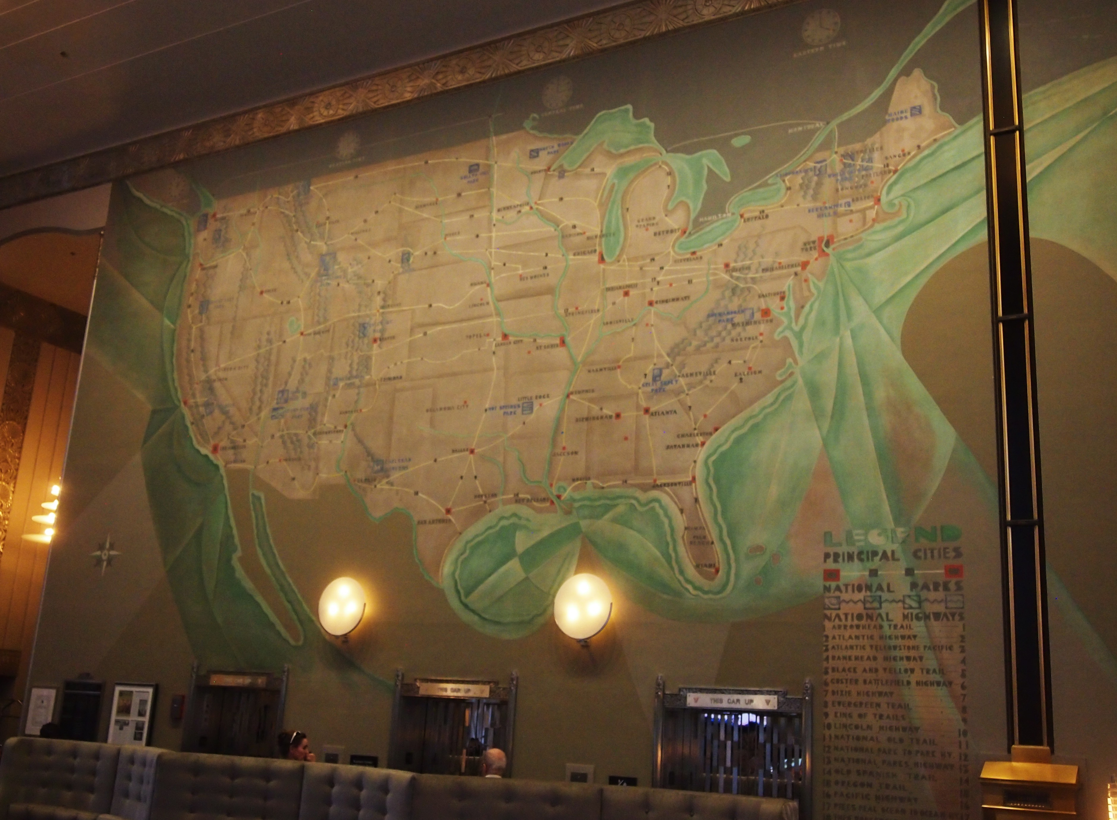 Chicago Auto Club Building US Map Mural