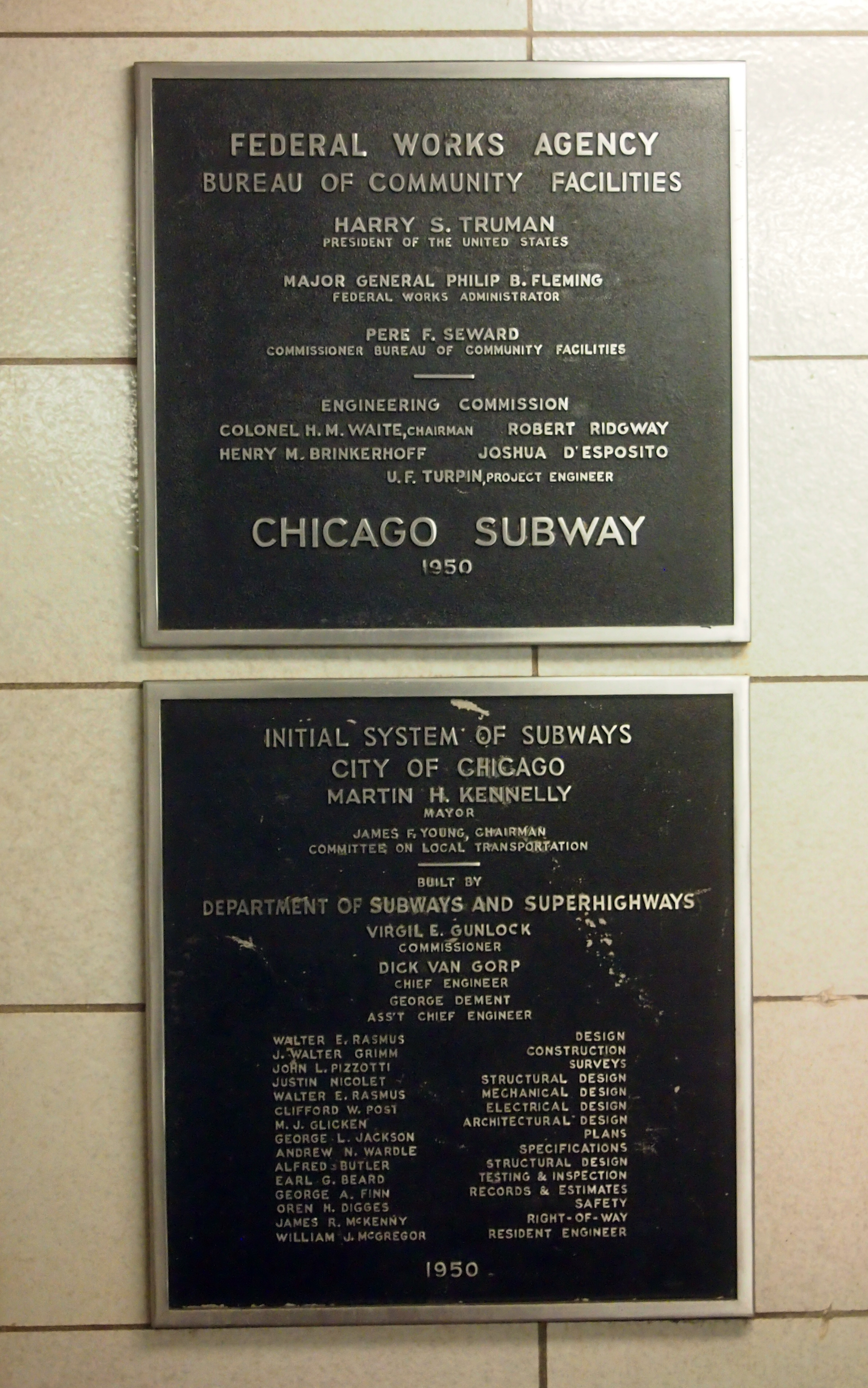 Federal Works Agency plaque, Chicago Station