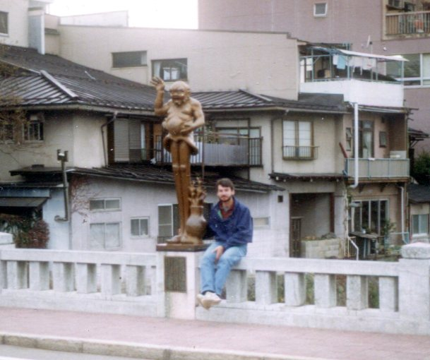 Statues on the Kajibashi Bridge over the Miyagawa River in Takayama.